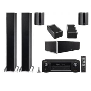 Definitive Technology BP-9040 Bipolar Tower Speaker x2 w/ CS9040 Center Channel Speaker w/ SR-9040 Bipolar Surround Speaker x2 w/ A90 High-Performance Height Speaker Module - Pair and Denon AVR-X2400H Network AV Receiver with HEOS - Bundle