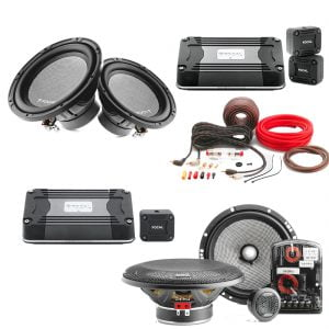 "Focal 25A4 10"" 4-Ohm Car Subwoofers x2 w/ AS165 2-way Component Speaker System w/ FD 1.350 Compact Mono Sub Amp w/ PK8 Amp Kit and FD4350 4-Channel Amplifier - Bundle"