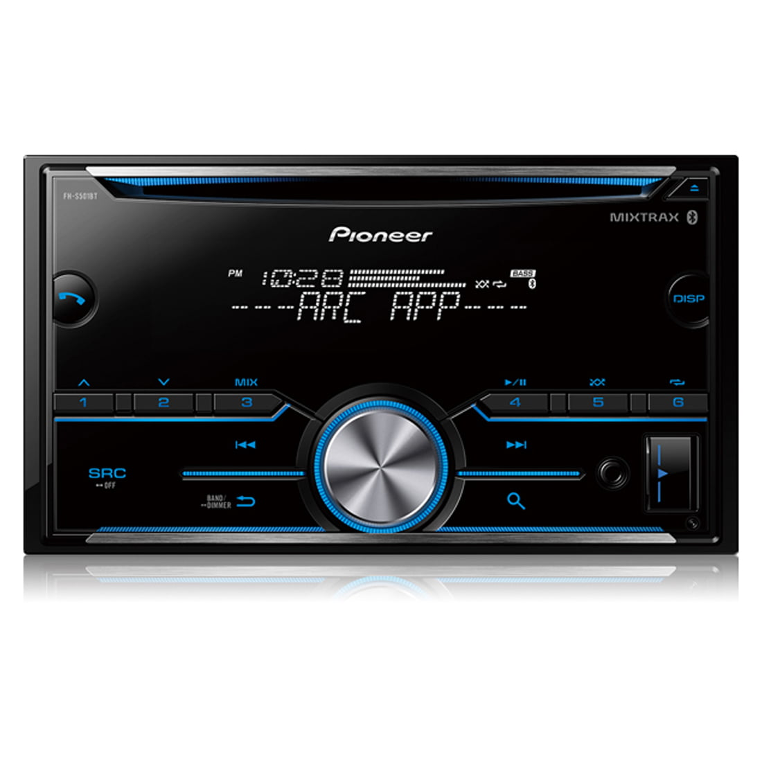 pioneer fh s501bt double din cd receiver with mixtrax
