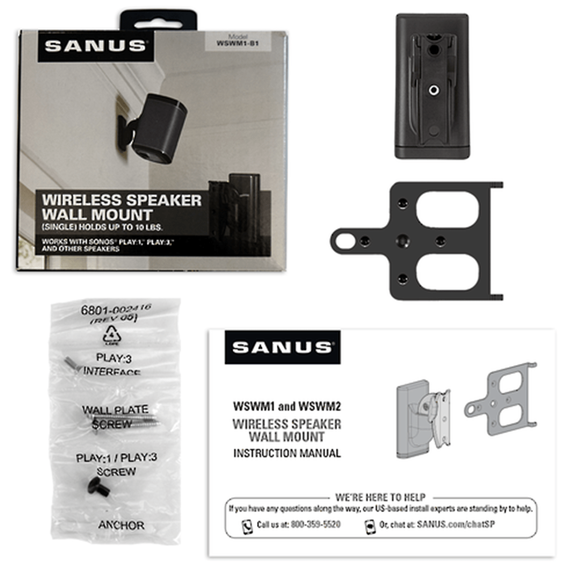Sanus Wswm1 B2 Tilt And Swivel Wall Mount For Sonos Play 1