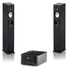 Paradigm PW-AMP Premium Wireless Amplifier w/ Monitor 7, v7 Floor Standing Speakers, Black - Pair - Bundle