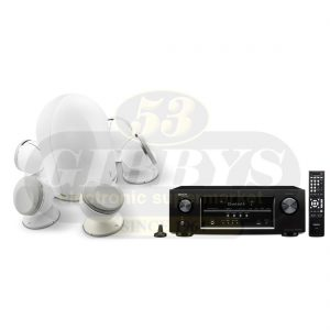 Denon AVR-S510BT B-Stock Receiver w/ Focal Dome White 5.1 Pack with Dome Subwoofer - Bundle