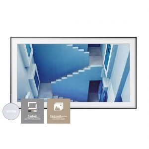 Samsung The Frame TV 55″ UN55LS003 Television Art Frame w/ Bonus VG-SCFM65WM Customizable White Bezel and Art Store Subscription