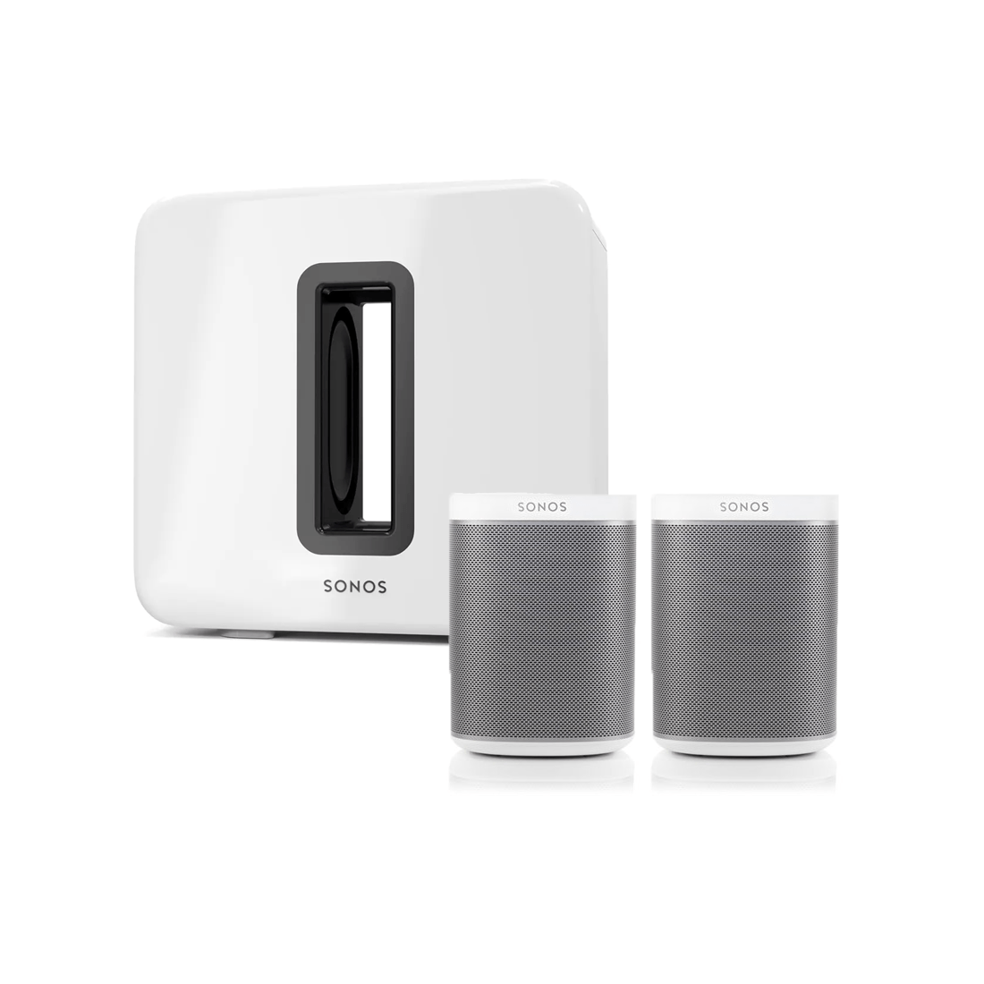 sonos one smart speaker x2 sonos sub amplified wireless subwoofer white bundle. Black Bedroom Furniture Sets. Home Design Ideas