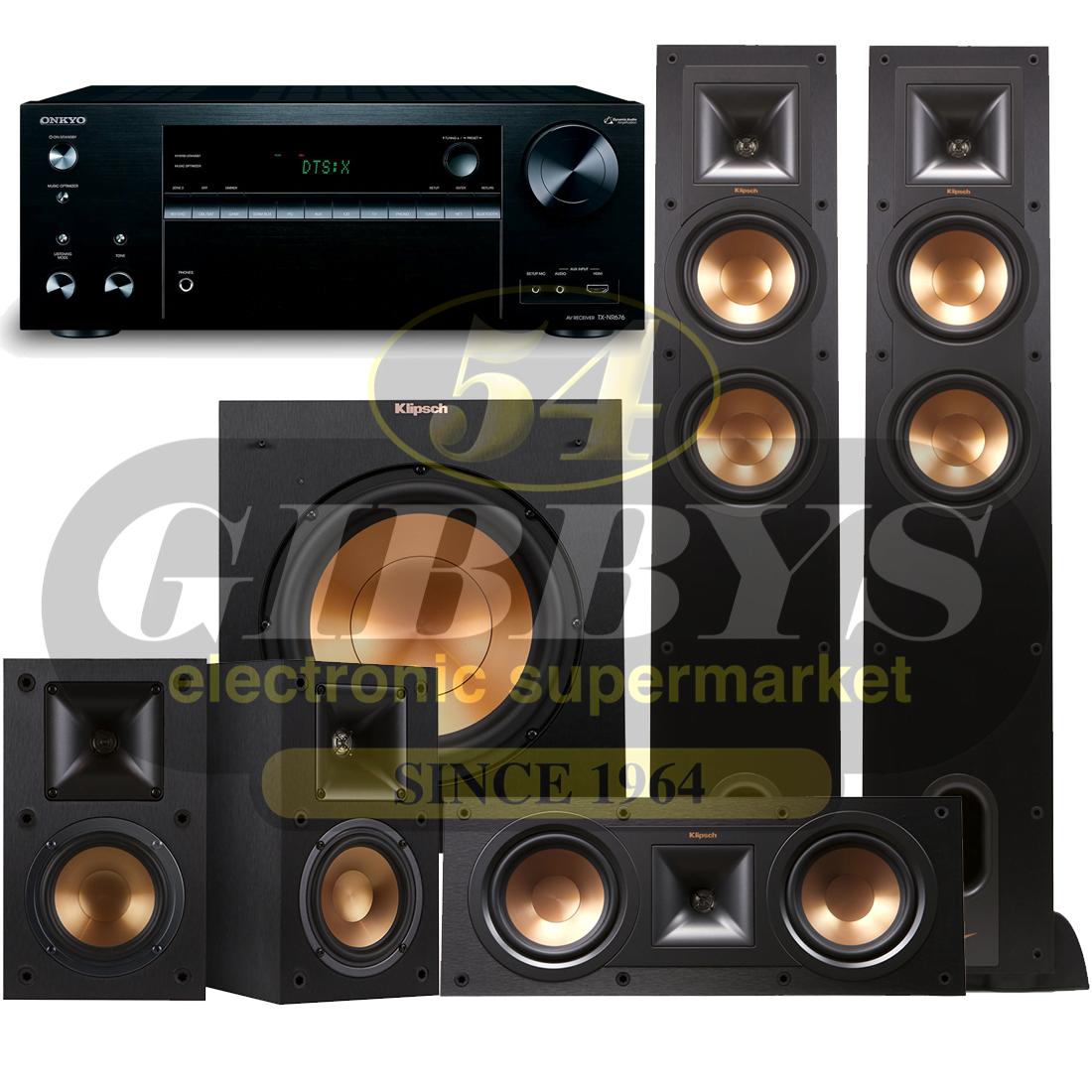 Onkyo TX-NR676 B-Stock with Klipsch R-26F Speaker Bundle #2