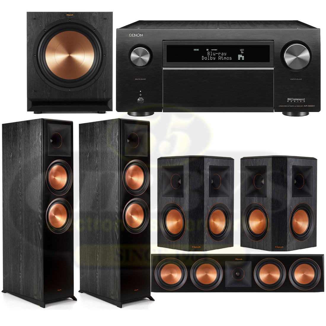 Denon AVR-X8500H 13 2 Channel 4K AV Receiver   Klipsch RP-8000FB Reference  Premiere 5 1 Speaker Bundle #6