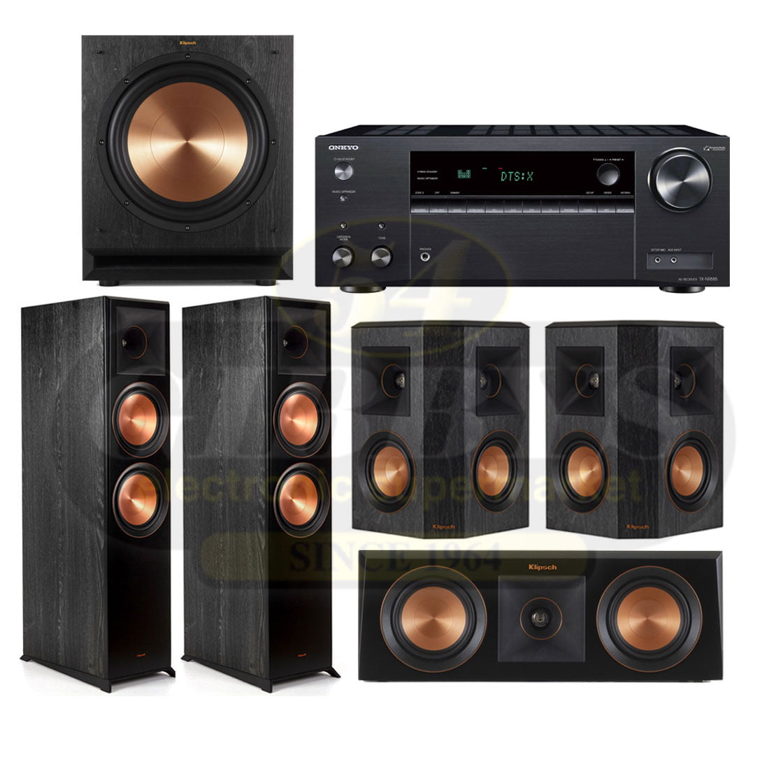 Onkyo TX-NR585 with Klipsch RP-8000FB Reference Premiere 5 1 Speaker  Package 9