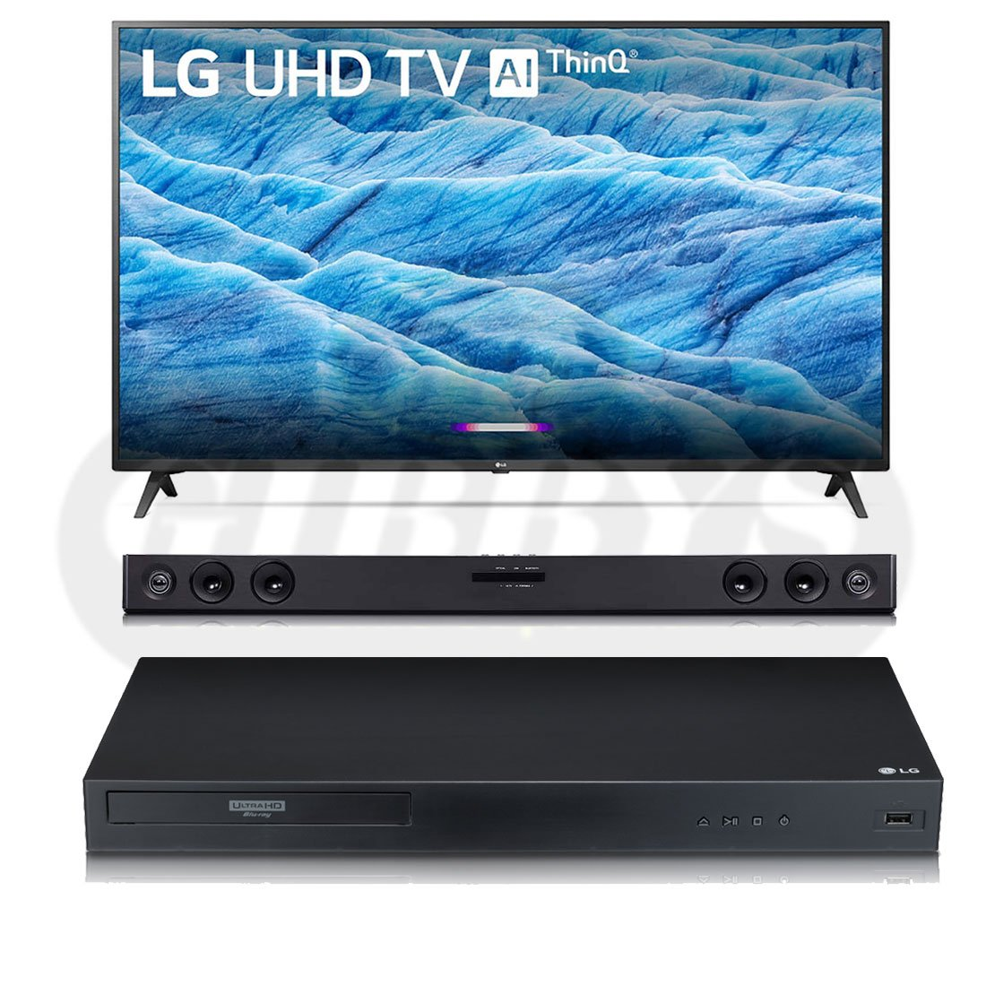 LG 43UM7300 43″ Class Smart LED TV | SJ3 Soundbar | UBK80 Player