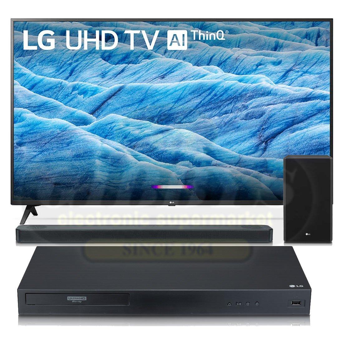 LG 55UM7300 55″ Class HDR 4K UHD Smart TV | LG SL8Y Soundbar | LG UBK90  Blu-ray