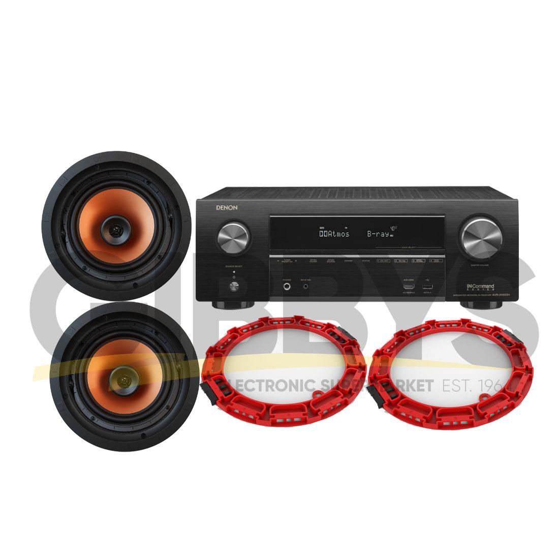 Denon AVR-X3500H 7 2 Receiver | (2) Klipsch CDT-5650-CII 6 5″ In-ceiling  Speakers with Installation Bracket Bundle