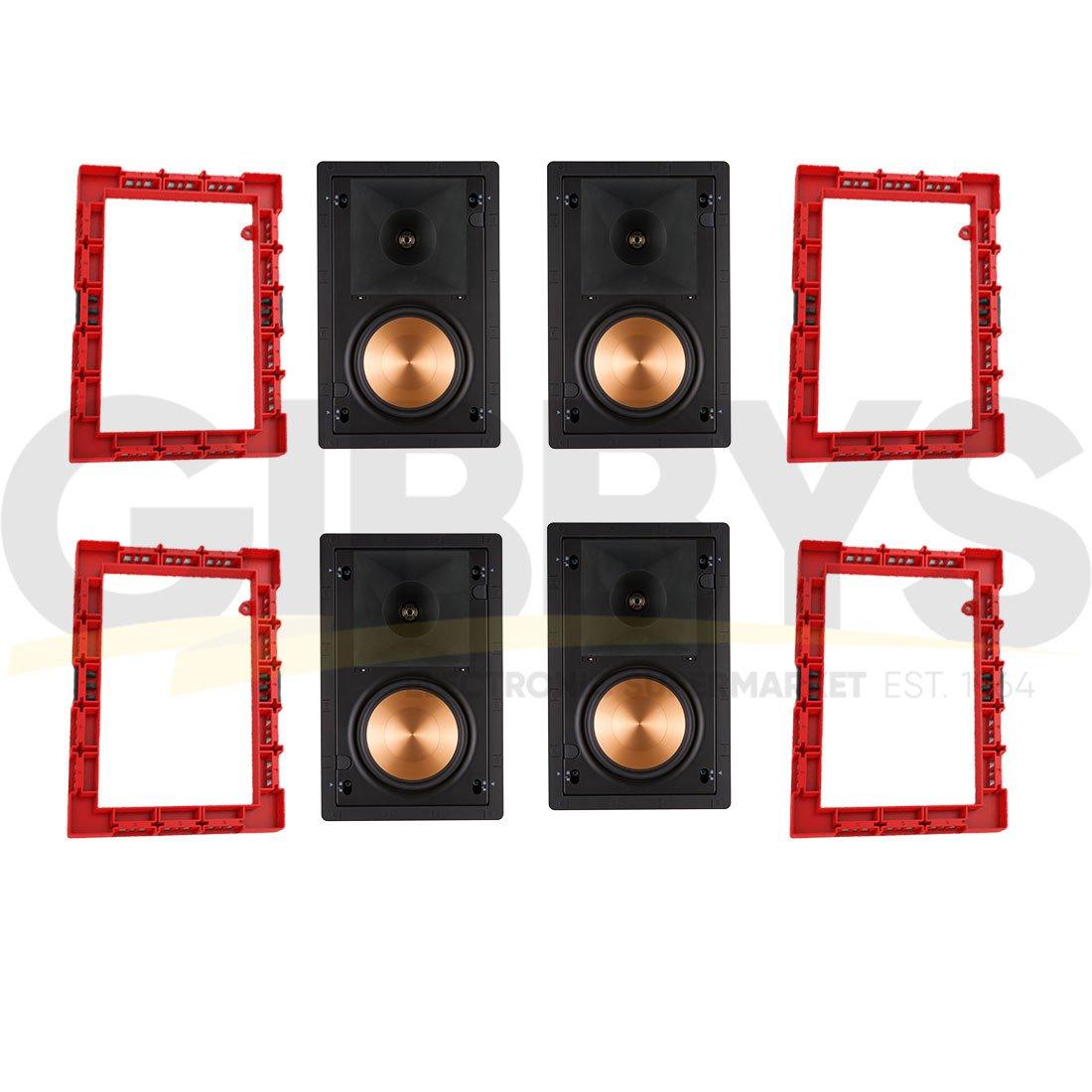 Klipsch PRO-16RW In-Wall Speaker (4) | Klipsch IK-650-W II Installation Kit  (4) Bundle