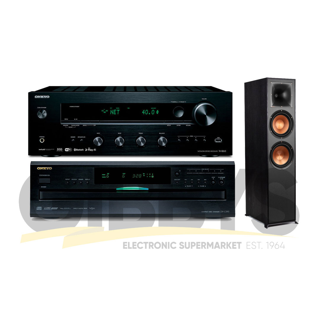 Onkyo TX-8270 Stereo Receiver | DX-C390 CD Player | Klipsch R-820FB Tower  Speakers