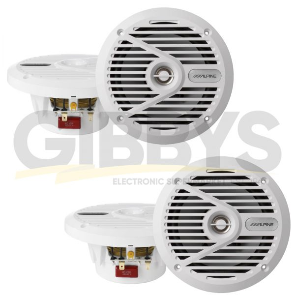 "Alpine SPS-M601W 6.5"" Coaxial 2-Way Marine Speaker – White - Pair (x2)"