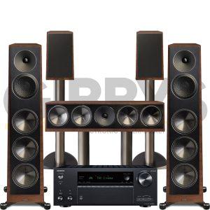 Onkyo TX-NR696 Founder 100F 5.0 Speaker Bundles #1 - Walnut