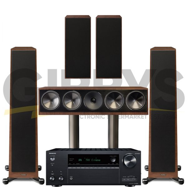 Onkyo TX-NR696 Founder 80F 5.0 Speaker Bundles #2 - Walnut