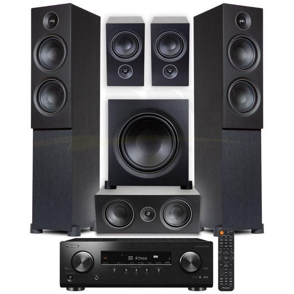 Pioneer VSX-834.PSB Alpha T20 Series 5.1 Speaker Bundle #1 – Black Ash