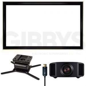 JVC DLA-NX5B D-ILA Projector Strong SM-PROJ-XL-BLK Projector Mount LX-120G169 120 Fixed Screen Pixelgen PXL-HFC10 10m HDMI Cable Bundle - Black